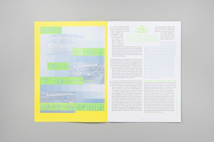 Essay, set in SangBleu Republic (body text) and Suisse Int'l Mono (streamers, side notes). The green type on the left and at the very top of the right page is KOPYME As Uzual.