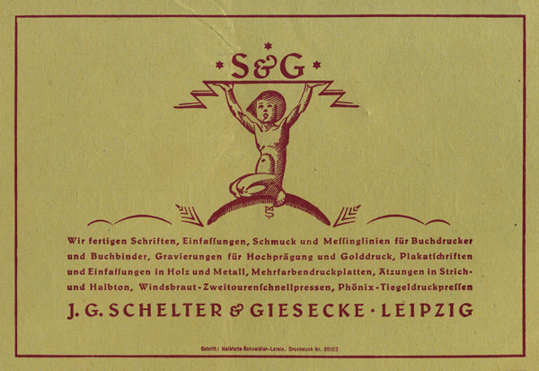 A variation in Typographische Mitteilungen, Vol. 19, Issue 8, August 1922. Illustration signed by MS (Max Salzmann?)