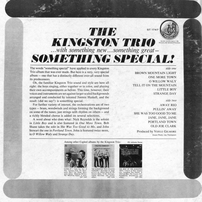 The Kingston Trio – Something Special  album art 2