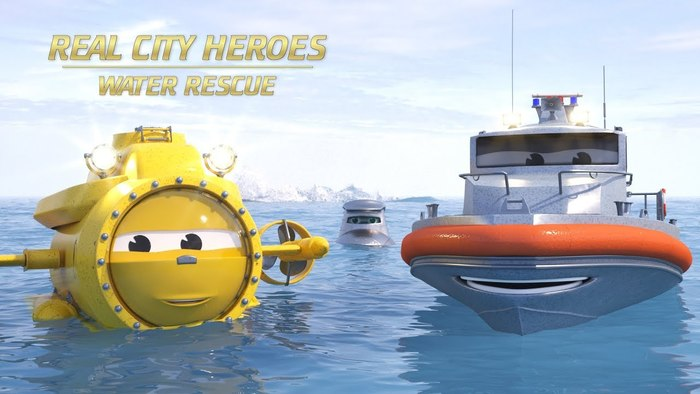 The Real City Heroes: Water Rescue logo uses a Crillee typeface.