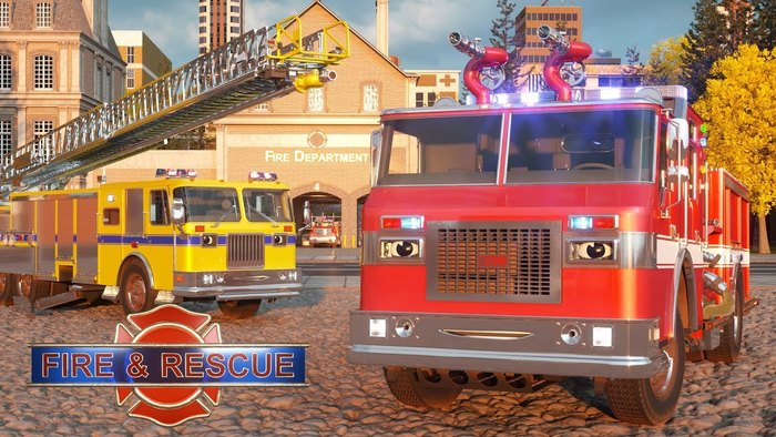 The Fire & Rescue logo uses an Arial typeface.