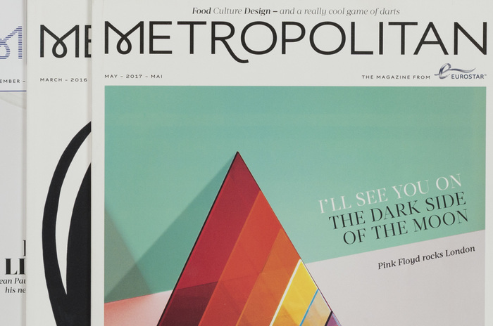Eurostar's magazine Metropolitan. The swash forms for M and R are included in Aspect as alternate glyphs.