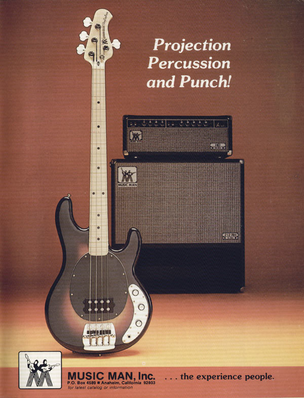 A 1977 Music Man ad for the Stingray bass and Music Man amps.