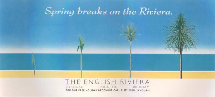 "Pool, 1986. ""One of several posters designed by David Hughes in this long-running campaign for The English Riviera."" — Anatomised"