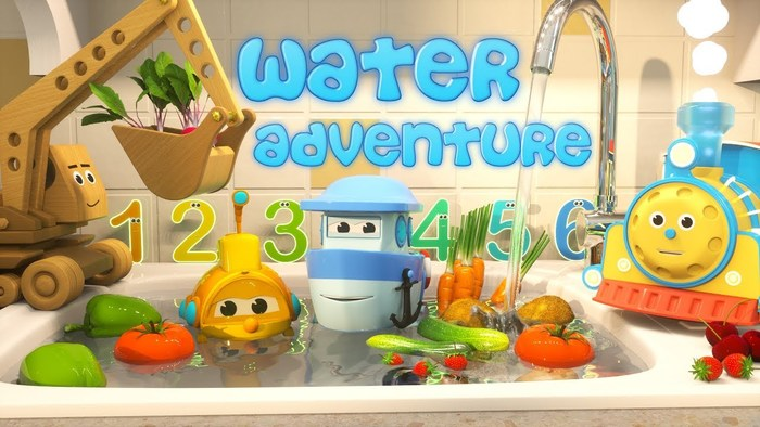 The Water Adventure logo uses a Casual (AJ Palmer) typeface.