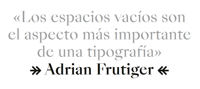 The Frutiger quote on the Graphic Design page is set in the Regular and Medium weights of SangBleu Empire. The two-headed arrows in the last line are from Suisse Int'l.