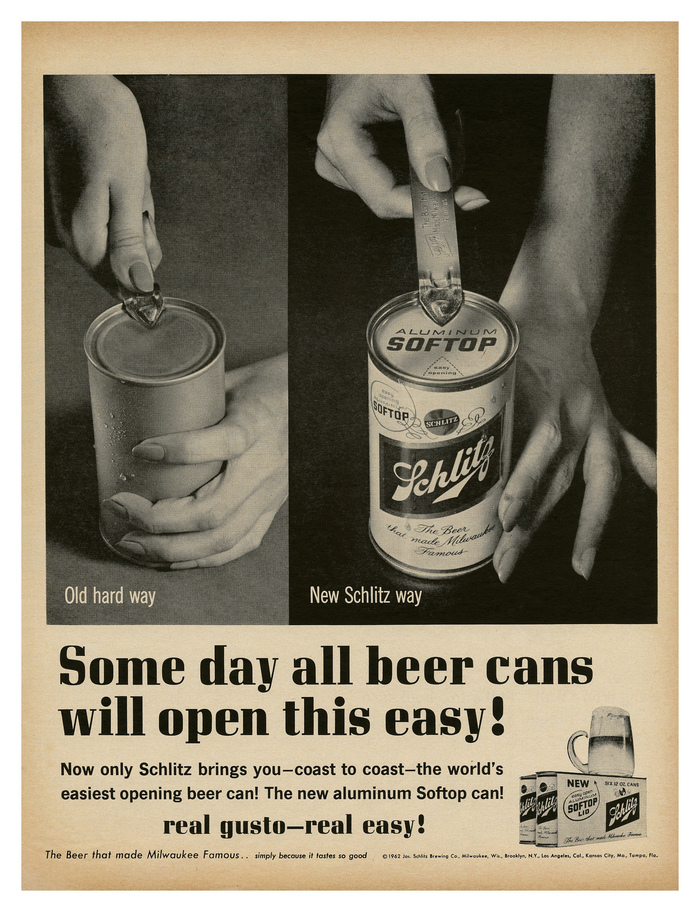 """Schlitz ad – """"Some day all beer cans will open this easy!"""""""