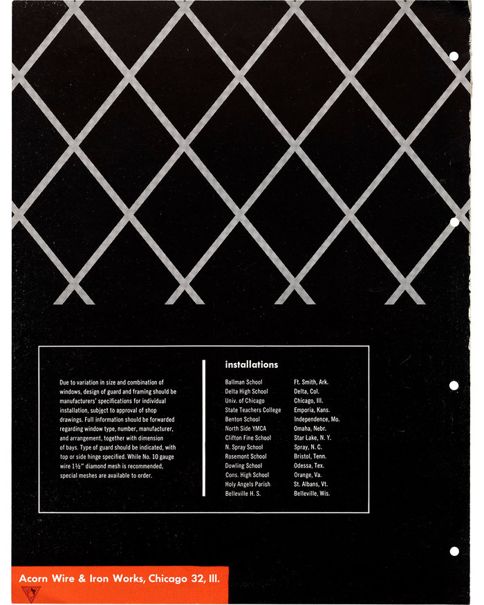 """Wire Mesh Gymnasium Window Guards"" brochure 2"