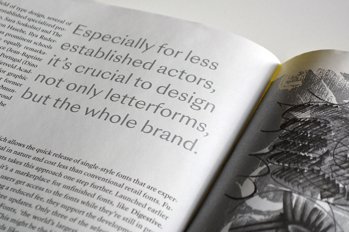 Pull quote in SangBleu Sunrise, printed in silver metallic ink.