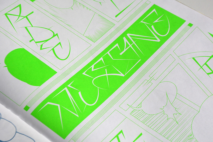 Feature page with Benoît Brun's Shakotan (work in progress), printed in neon spot color.