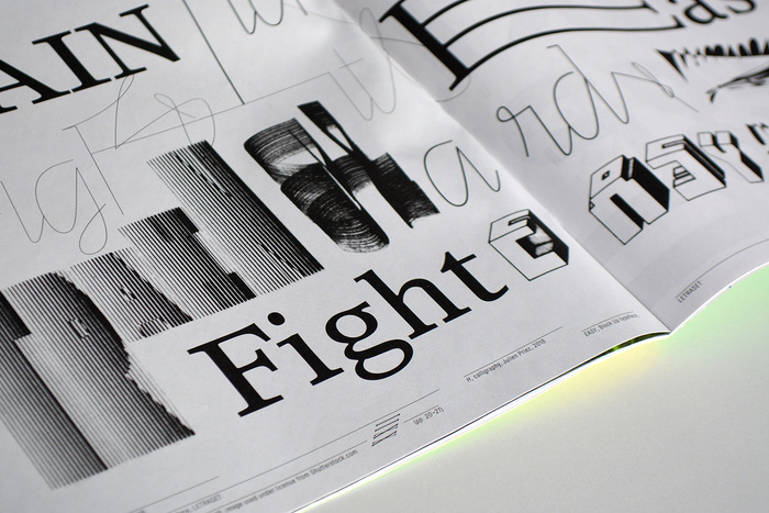 Times Europa (Linotype) vs. Line (Letters from Sweden), with interventions by Good Vibrations and Block Up (Letraset).