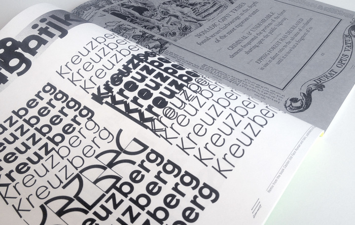 A pattern of Patron (Milieu Grotesque) with a guest appearance by Vincent (Letraset) is juxtaposed with a collage featuring elements from a Caslon Old Face specimen by H.W. Caslon & Co. from 1924.