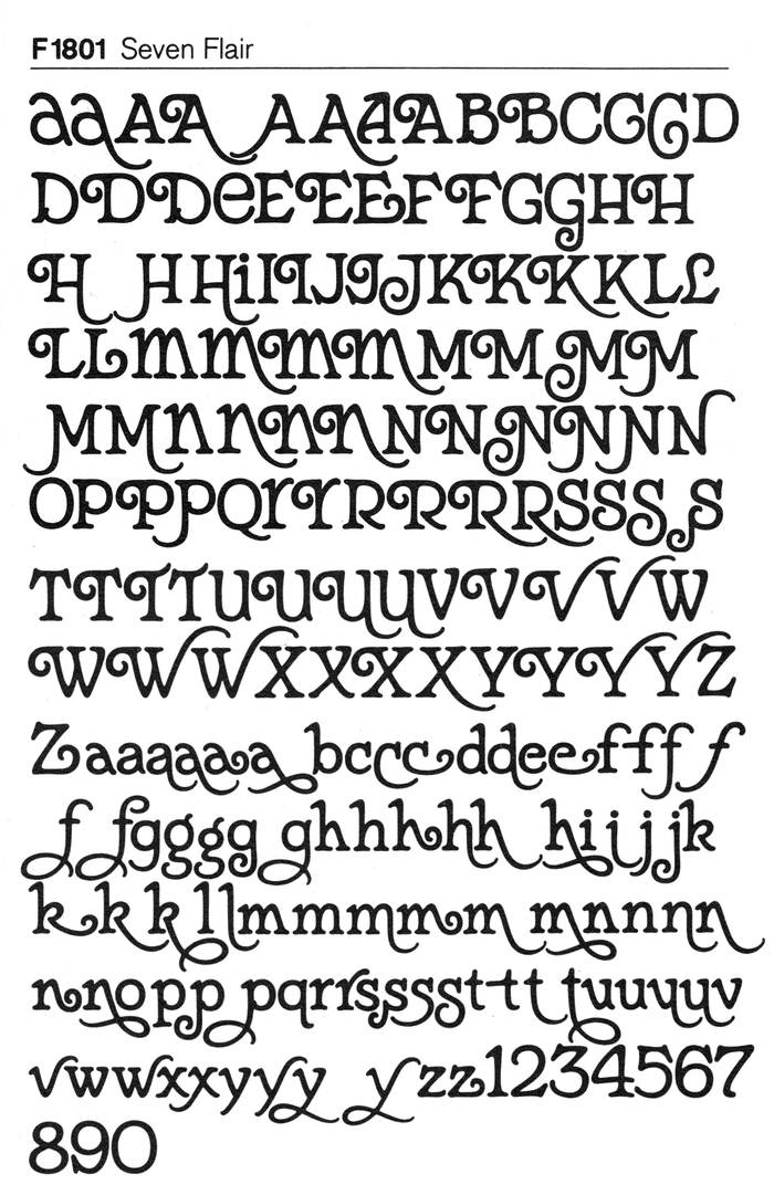 Glyph set of Seven Flair as reproduced in a catalog by German typesetting studios Fürst (c.1980), showing the enormous range of swash forms and other alternates.