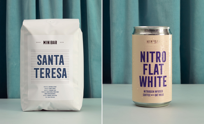 """The typography for this packaging is set almost entirely in filled-in Frontage Condensed. On the left and right of Minibar, the tag line """"Good Sips"""" is set in all caps Freight Micro."""