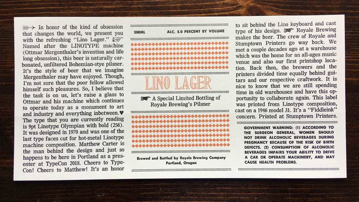 Lino Lager beer label 1