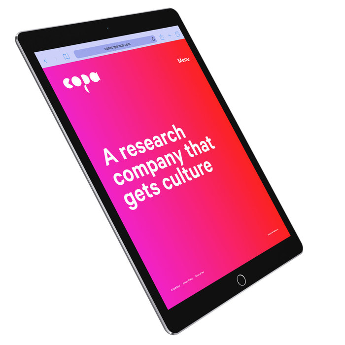The homepage features a typewriter effect on a vibrant gradient background.
