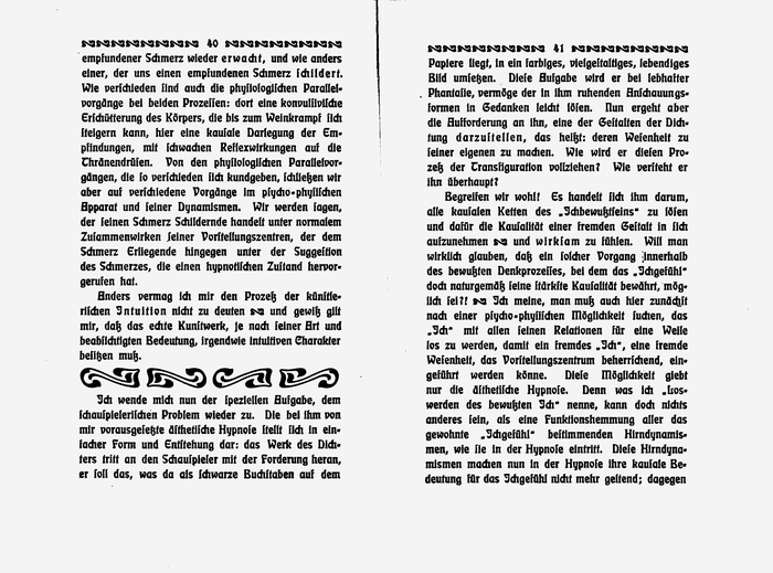 """Like most blackletter types, Eckmannschrift has no italics. Tracking is used for emphasis, see """"Intuition"""" (left) and """"darzuſtellen"""" (right), among other words."""