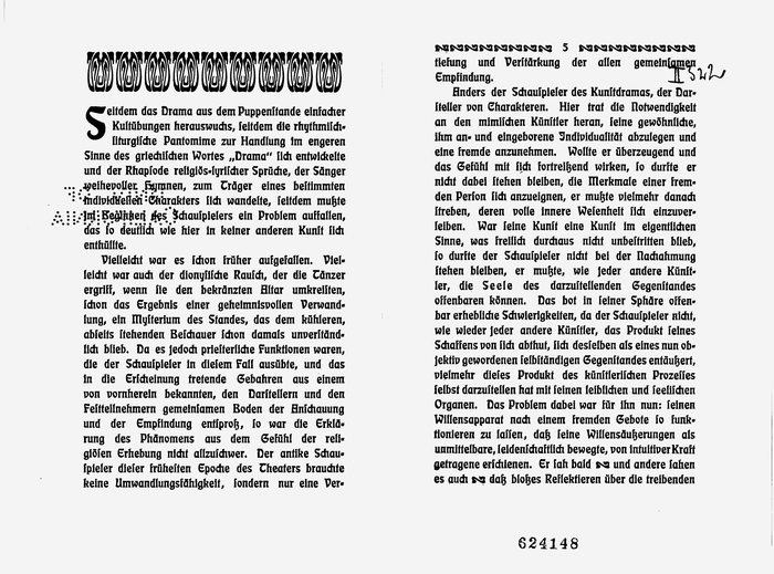 Spread from the interior, with drop cap and ornaments. In the last two lines of the right page, two floral elements from Eckmann-Schmuck appear inline. They seem to be used in place of dashes.