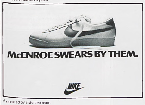 """McEnroe swears by them."" Nike tennis shoe ad 2"