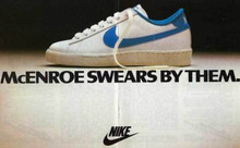 """McEnroe swears by them."" Nike tennis shoe ad"