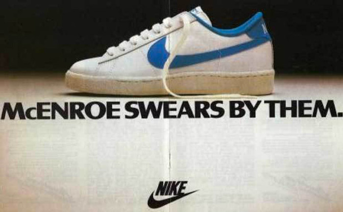 """McEnroe swears by them."" Nike tennis shoe ad 1"