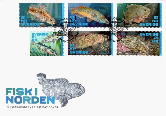 The First Day Cover (förstadagsbrev in Swedish) shows Ferry with alternating glyph colors.
