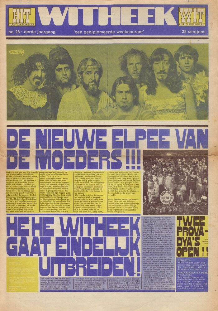 """March 29 1968, Vol. 3 No. 28. """"The new album by The Mothers!"""" """"Finally, Witheek [sic] will expand!"""" Headlines set in what looks like a version of Gothic Bold. It could be Skidoo Caps, which is shown in Lettergraphics' 1969 catalog, albeit with a different W. Berthold's   came later (1972) and is different in several letterforms, incl. G, J, O, V, W."""