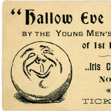 "Hallow Eve Party Ticket, Young Men's Society, First Methodist Episcopal Church, Lancaster,<span class=""nbsp""> </span>Pa."