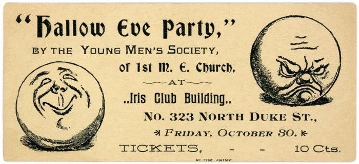 Hallow Eve Party Ticket, Young Men's Society, First Methodist Episcopal Church, Lancaster,Pa.
