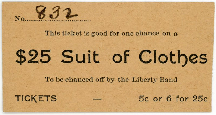 Ticket for a chance on a $25 suit of clothes