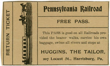 Free Pennsylvania Railroad Pass, Huggins the Tailor