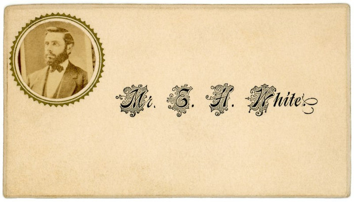 Mr. E. H. White, calling card with photograph