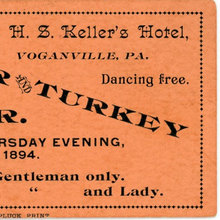 "Oyster and Turkey Supper Ticket, Voganville,<span class=""nbsp"">&nbsp;</span>Pa."