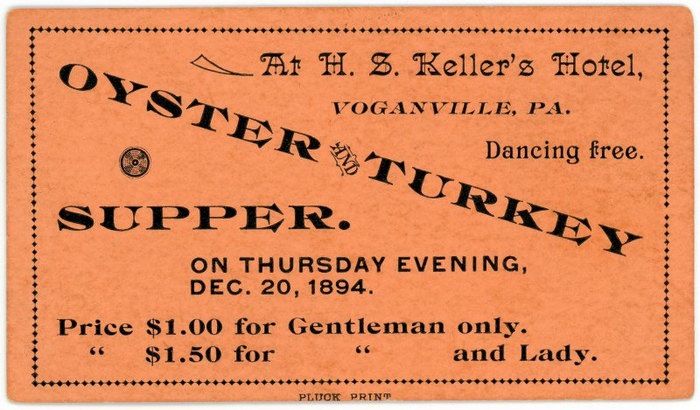 Oyster and Turkey Supper Ticket, Voganville, Pa.