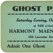 "Ghost Party Ticket, Reading,<span class=""nbsp""> </span>Pa."