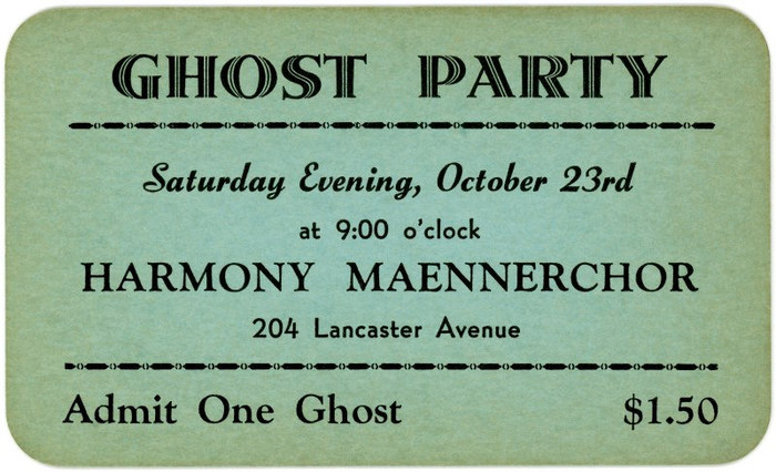 Ghost Party Ticket, Reading, Pa.