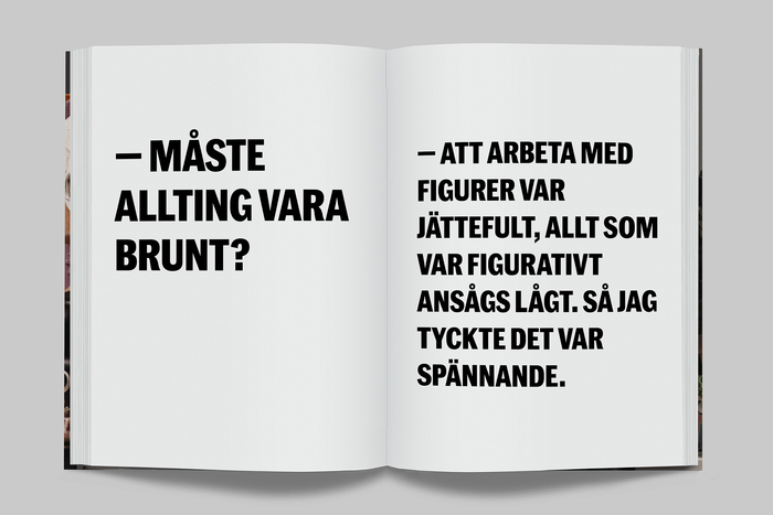Spread in the Swedish edition. Typeset in Marr Sans Cond Bold.