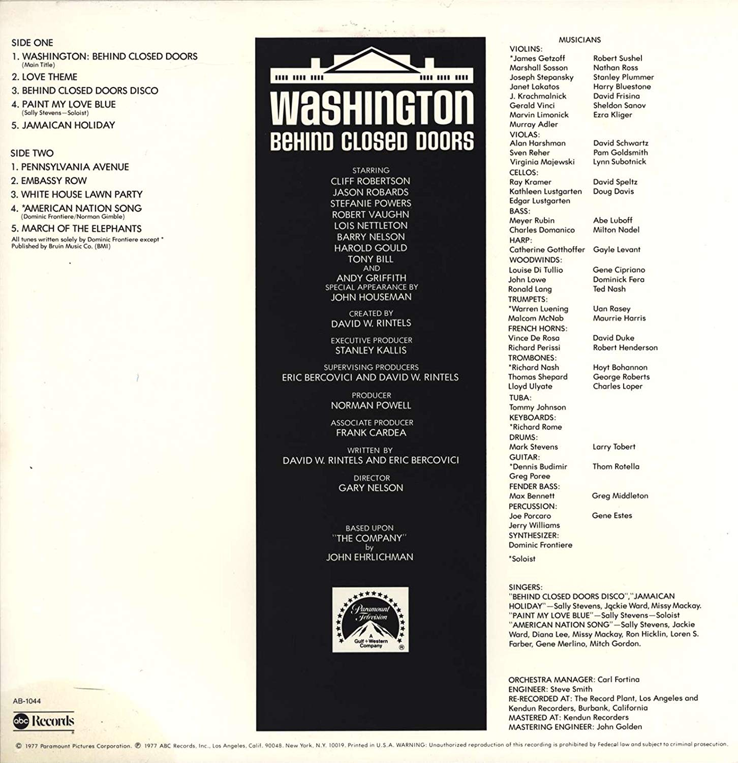 Original Music from Washington Behind Closed Doors by Dominic