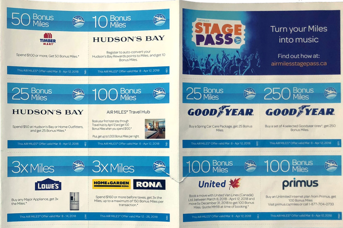 The printed coupons for bonus miles feature Omnes Light.