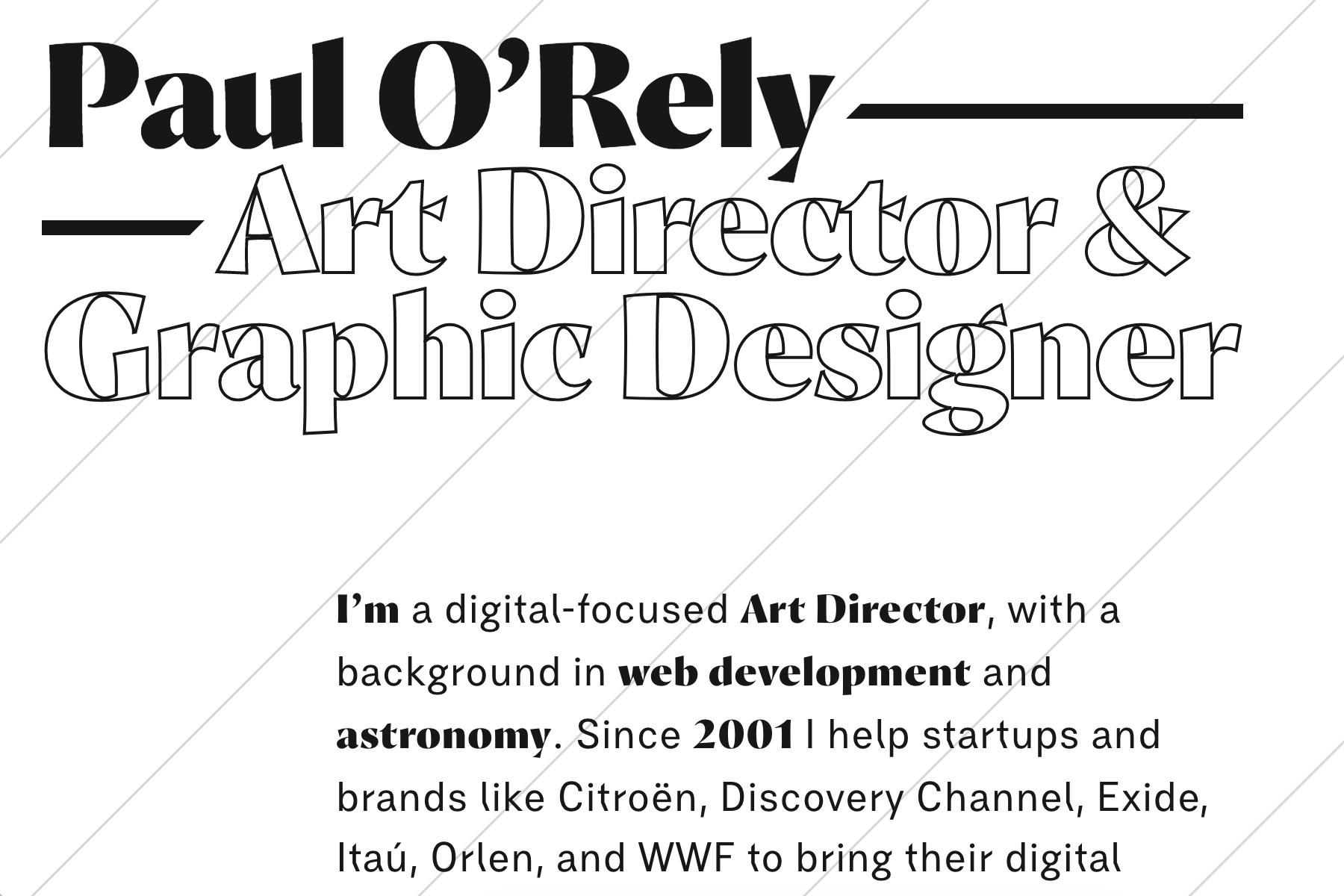 Paul O'Rely portfolio website - Fonts In Use