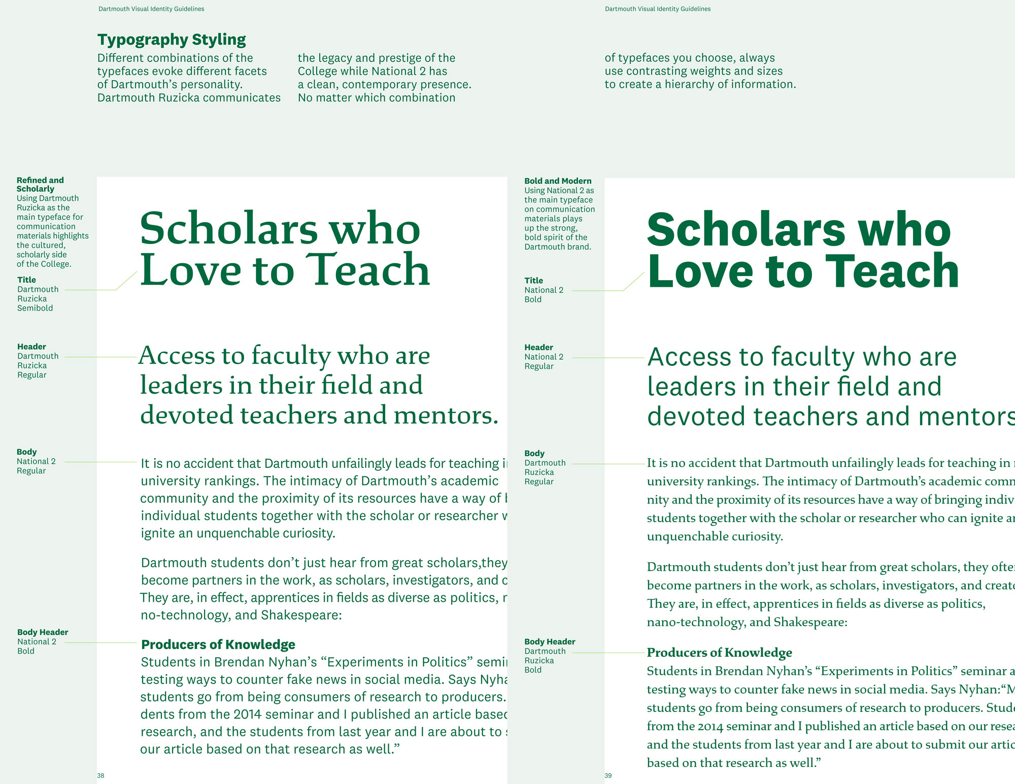 Dartmouth College identity system - Fonts In Use