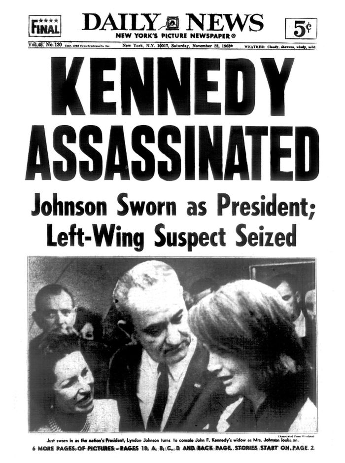 "Daily News Gothic (""ASSASSINATED"") below a condensed woodtype (""KENNEDY"")."
