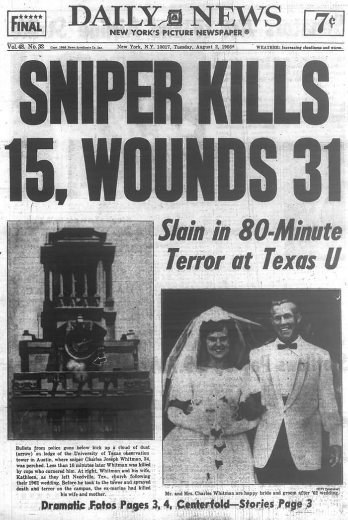 On August 1, 1966, former U.S. Marine Charles Whitman opened fire at the University of Texas campus in what was one of the the deadliest mass shootings in US history.