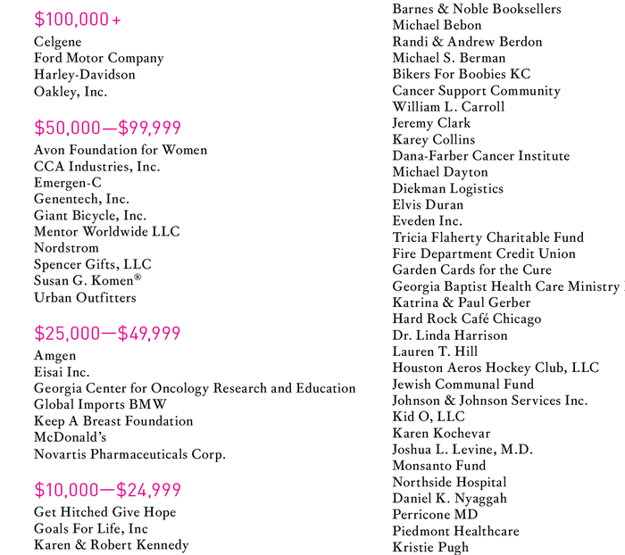 Detail from a list of funders. Corundum Text is paired with headings in pink FF DIN.