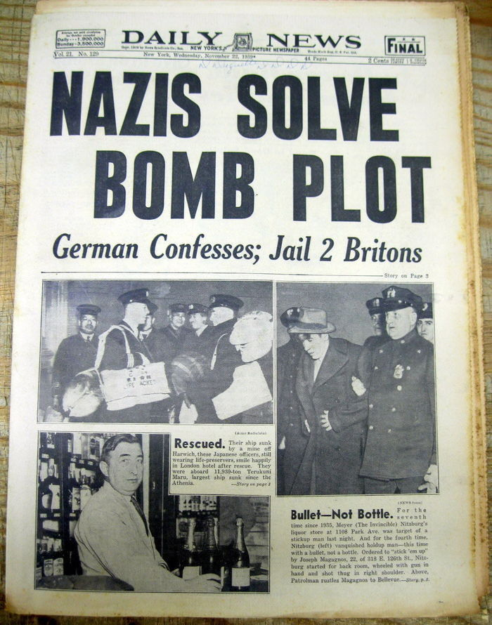 An early use of Daily New Gothic from 1939. A bomb meant to kill Hitler fails.