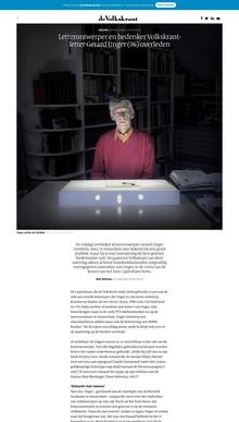 Gerard Unger overleden, <cite>de Volkskrant</cite> website