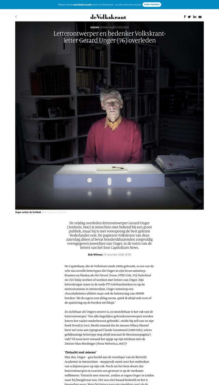 Gerard Unger overleden, de Volkskrant website 1
