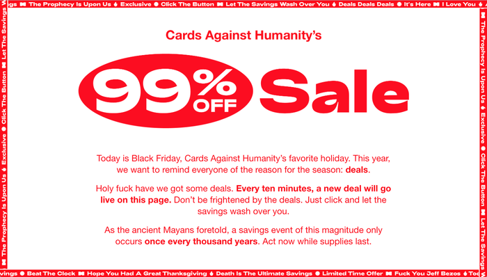 Cards Against Humanity: 99 Percent Off Sale 1