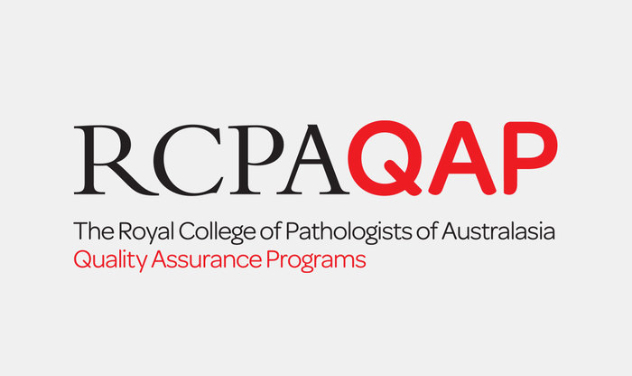 "The RCPA wordmark is set in venerable Bembo capitals. For the Quality Insurance Programs (QAP), the logo is augmented with red sans-serif letters from Omnes Medium (P was modified to echo the ""fingertip"" terminals found in other letterforms).  The full names underneath are set in the light weight."