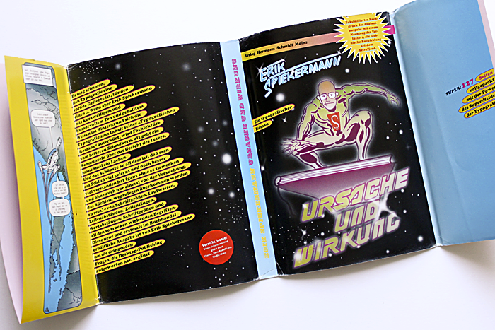 This cover quotes from the space theme, which might be rather typical for the 1990s – with gradient coloring and several effects applied to the illustration. A short comic tells of the mother ship Helvetica making its way through the typovers. While Cooper Black dominates this jacket, the author's name and the title are lettering jobs.